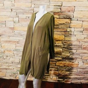 Gibson Latimer Jackets & Coats - Army Green Floral Embroidered Kimono Duster Med